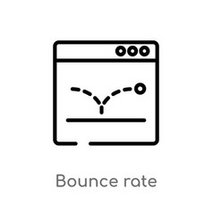 Outline bounce rate icon isolated black simple vector