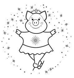 pig - skates the symbol 2019 vector image