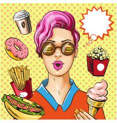 pop art fast food concept vector image