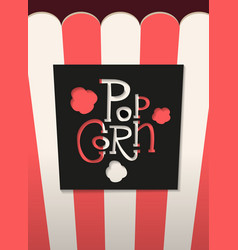 popcorn cut black lettering lable with shadow on vector image