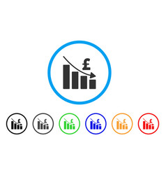 Pound recession bar chart rounded icon vector