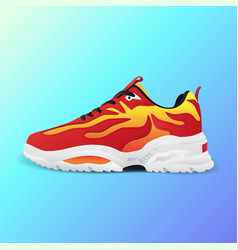 realistic sport running shoe for training and vector image