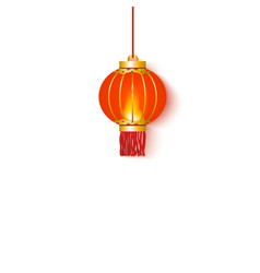 red chinese oriental hanging lantern and lamp vector image