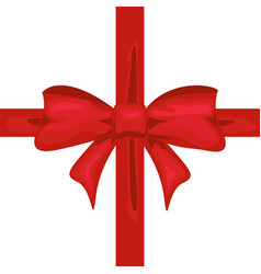 red ribbon with bow tape decor for present design vector image