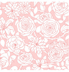 Repeat pattern with lily chrysanthemum camellia vector