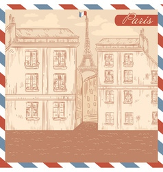 Retro-styled France postcard vector