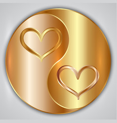 Round yin yang medallion with hearts and gold vector