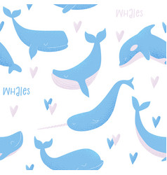 Seamless pattern with blue whale vector