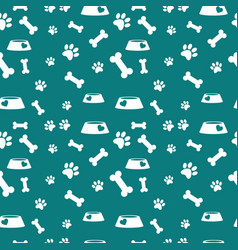 Seamless pattern with bones paws and feed bowl vector