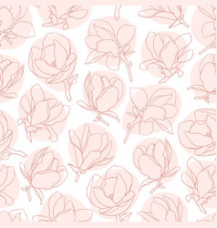 seamless pattern with pink blooming magnolia vector image