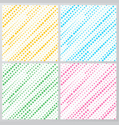 set of abstract yellow blue green pink dotted vector image