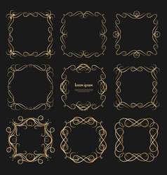 set of golden dividers vintage frames vector image