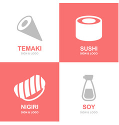 set of japanese food and sushi soy roll nigiri vector image