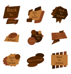 set of nine brown back to school badges vector image