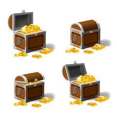 Set of treasure chests open and closed pirate vector