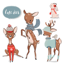 Set with cute watercolor winter deer vector