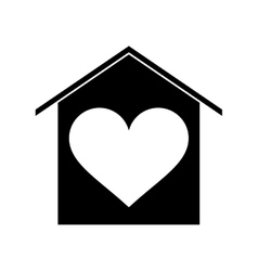 Silhouette house love heart beauitful card vector