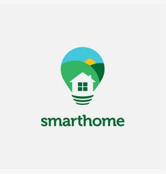 smart home logo home landscape and lighting bulb vector image