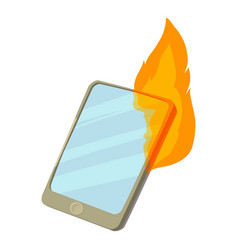 smartphone on fire icon cartoon style vector image