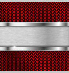 Stainless steel plate on red perforated background vector