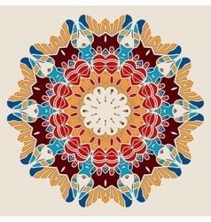Stylized Mandala Print Oriental Round Symmetrical vector image