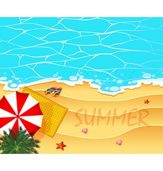 Summer theme with ocean and beach background vector image