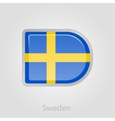 Sweden flag button vector image
