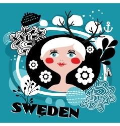 The portrait of Swedish girl vector