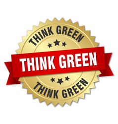 Think green 3d gold badge with red ribbon vector