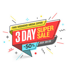 Three day super sale banner template in flat vector