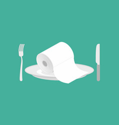 toilet paper on plate toilet roll on dish knife vector image