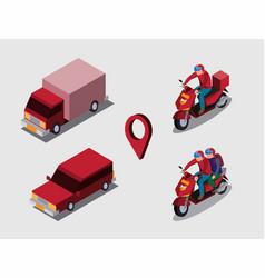 Transport online isometric concept vector