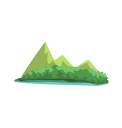 Tropical Island With Mountains View Jungle vector