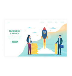 two business people launches rocket into sky vector image