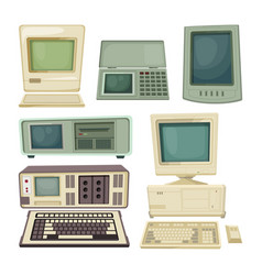 Vintage of desktop computers and vector