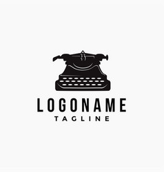 vintage old typewriter logo icon template vector image