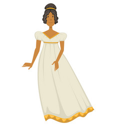 Woman or princess in dress or gown empire style vector
