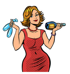 Woman with a bottle wine vector