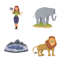 Zoo and park icon set of vector