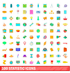 100 statistic icons set cartoon style vector image