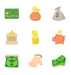 funding icons set cartoon style vector image