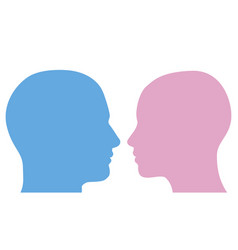 man and woman heads silhouette vector image vector image