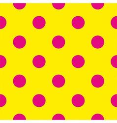 Pink polka dots on yellow background tile pattern vector image vector image