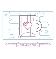 Red cup icon Tea drink dinner and food vector image