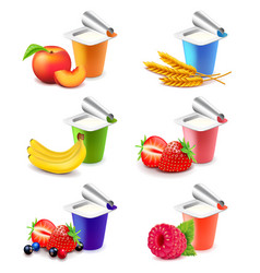 colorful yogurt cups with fruits 3d realistic set vector image