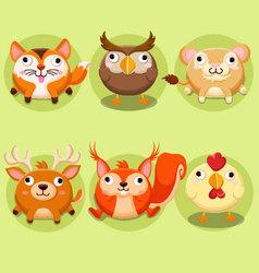 Cute animals Icon set vector image
