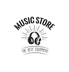 headphones icon music store logotype labe vector image vector image