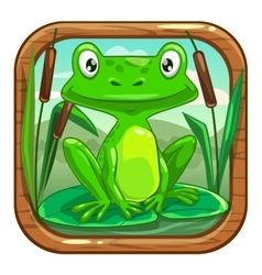Little green frog sitting on the leaf vector image