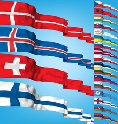 set 3 of world flags vector image vector image