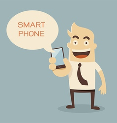 Businessman cartoon holding smart phone vector image vector image